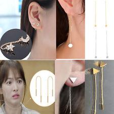 Women Korean Chic Long Ear Threader Ear Chain Simple Earrings Gold Silver Gift