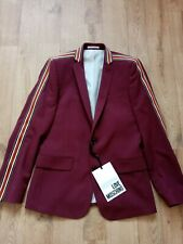 MOSCHINO LOVE MEN'S BURGUNDY SINGLE BREASTED BLAZER WITH CONTRAST SPORTS BRAID T