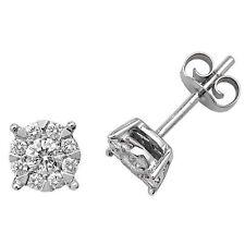 Orecchini a lobo con diamante oro bianco Premium sfavillanti Set 0.50ct