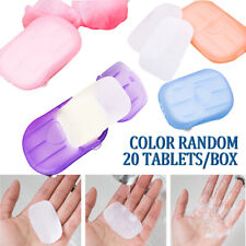 40pcs Portable Disposable Box Soap Paper Sheets Travel Hand Washing Scented