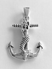 Mermaid Cross Anchor Sterling Silver 925 Pendant