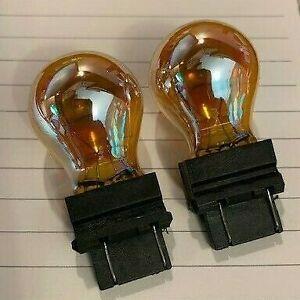 2x- 3157A Amber Chrome Signal Lamps!   Like Sylvania SilverStar