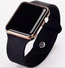 Digital LED Rectangular Screen Silicon Wrist Watch Men Women Teenagers - Gold