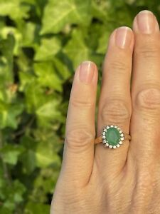 9ct Gold Emerald And Colourless Gem Cluster Flower Ring Size N 2.5g
