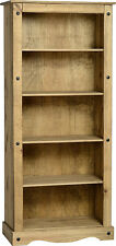Seconique Bedroom Furniture - CORONA Pine Tall Bookcase Distressed Wax Finish