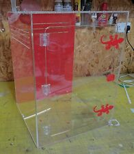 Red & Clear Acrylic Reptile Enclosure 45x45x60cm