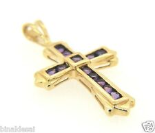 Cross Pendant Mums Love Gift Box New Womens Ladies 9ct Gold Amethyst Channel Set