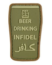 """Military Morale 3D Rubber Patch """"BEER DRINKING INFIDEL"""" OLIVE - Tactical Airsoft"""