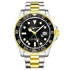 Stuhrling Aqua-Diver 3965 ш��ейцарский кварцевый мужской серебряный браслет черный циферблат наручные часы