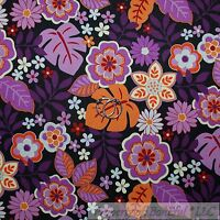 BonEful Fabric FQ Cotton Quilt Purple Orange Red White Flower Leaf Garden Dot L