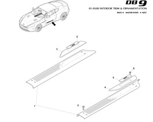 Aston Martin DB9 Door Sill Scuff Tread Plates - Platinum - Pair *save £40*