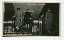 Vintage Postcard CHICAGO  Subway Entrance Accident Proof Escalators