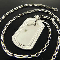 Dog-tag Pendant Necklace Chain Real 925 Sterling Silver S/F Solid Unisex Design