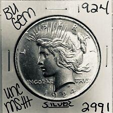 1924 P BU GEM PEACE SILVER DOLLAR UNC MS+ GENUINE U.S. MINT RARE COIN 2991