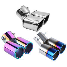 STAINLESS STEEL TWIN ROUND CHROME CAR EXHAUST TAIL PIPE TRIM/MUFFLER TIP