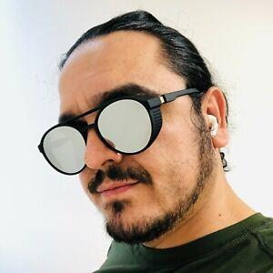 Sunglasses Men Mirror Lens Round Steampunk Vintage Punk Rivet Wrap Retro Women