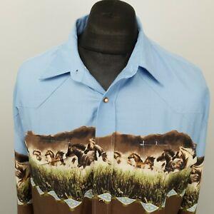 ROPER Mens Vintage Western Shirt Snap FITS 3XL (label XL) Brown Cowboy Cotton