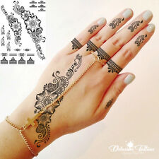 BLACK HENNA TEMPORARY TATTOO,  DAISIES, FLOWERS, LACE, HAND, FOOT, WOMANS, GIRLS