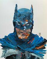 """ORIGINAL Abstract Batman Blue Suit Portrait Comic Art Palette Knife Painting 14"""""""