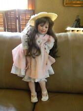 "Vintage Donna Rubert Doll Porcelain Cloth Body 26"" Tall Green Eyes"