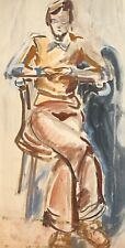 Vintage expressionist watercolor painting portrait