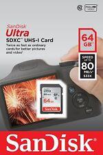 SanDisk Ultra 64GB 80MB/s SDXC SDHC Class 10 533x SD Camera Flash Memory Card