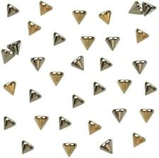 200PCS Silver and Gold Acrylic  Cone Spike Studs Bead, Sew On, Glue On, Stick On