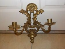 Vintage Brass Two Arm Candle Sconce Holder Wall Mount Shell Leaf Motif