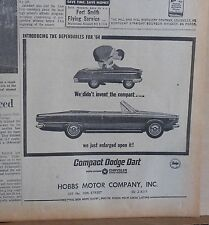 1963 newspaper ad for Dodge - 1964 Dart convertible and boy with toy pedal car