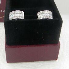 14K White Gold 6 mm Round Baguette Diamond Hoop Huggies Earrings 2.9 Grams