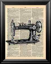 ANTIQUE SEWING MACHINE ALTERED ART UPCYCLED VINTAGE DICTIONARY ART PAGE PRINT!