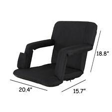 Football Stadium Seat Chair, Reclining Bleacher Seat 5 Assorted Positions, Black