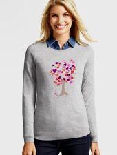 NEW $79 TALBOTS Gray Hearts Family Tree Intarsia Sweater Sz XS ( 2,4 )
