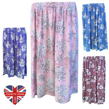 LADIES DESIGNER FLORAL VINTAGE SKIRT ELEGANT FULL ELASTIC MADE IN UK SIZES 8-26