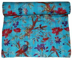 Kantha Quilt Turquoise Bird Print Quilt Queen Bedding Bed Cover Bedspread Throw