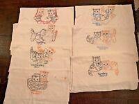Vintage Embroidered Flour Sack Days of Week Kittens Cat Kitchen Tea Towels Lot 7