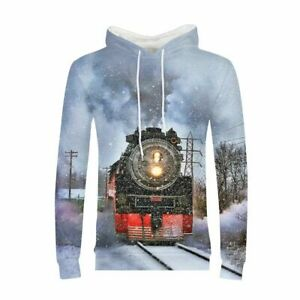 Mens Classic Steam Train Breathable Pullover Hoodies Casual Sweatshirts S-3XL