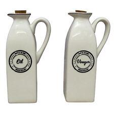 Set of 2 White Ceramic Oil Vinegar Bottle Jar Dressing Drizzler Pourer Dispenser