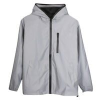Long Sleeve Zipper Reflective Jacket Hooded Windbreaker Streetwear Coat Utility