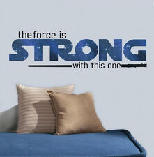 STAR WARS VII THE FORCE AWAKENS quote: THE FORCE IS STRONG wall sticker 6 decals