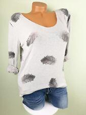 ♥ Italy Shirt Feinstrick Pullover Damen Pulli FEDERN GRAU Viskose 36 38 40 S M