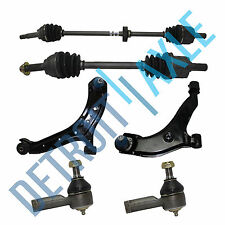2 Front CV Axle Shaft w/ ABS + 2 Lower Control Arm and Ball Joint + 2 Tie Rod