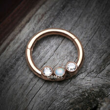 Trio Seamless Clicker Ring Rose Gold Fire Opal Sparkle