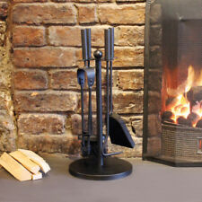 5PC TRADITIONAL FIREPLACE COMPANION SET FIRE SIDE TOOLS BRUSH SHOVEL TONGS POKER