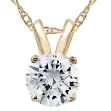 1/2ct Yellow Gold Round Diamond Solitaire Pendant 14K
