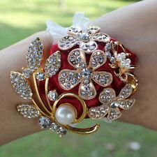 Artificial Wrist Silk Flower Boutonniere Wrist Bouquet Corsage Flower Gold