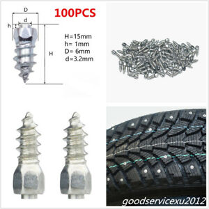 100 X 15mm Steel Body With Carbide Car SUV Screw In Tire Stud Spikes Wheel Studs