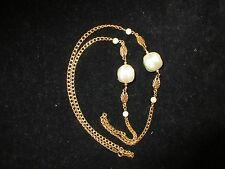 Stand Necklace Imitation Pearl Gold Tone Long Linked Chain Vintage Estate CHIC