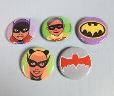 BATMAN Retro 5 Piece Button Pinbacks Batgirl! Robin! Catwoman! DC Comics