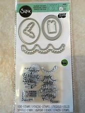 Sizzix Sentiments Stamp and Framelits Die Wish Big by Lindsey Serata 661862 NEW